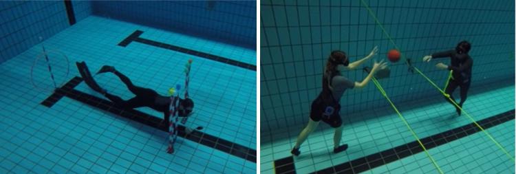 Hindernisparcour unter Wasser und Passspiel mit UW-Rugby-Ball