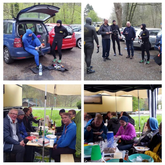 Die Teilnehmer des Mai-Schnorchelns auf dem Parkplatz in Neoprenanzügen und beim gemeinsamen Picknick